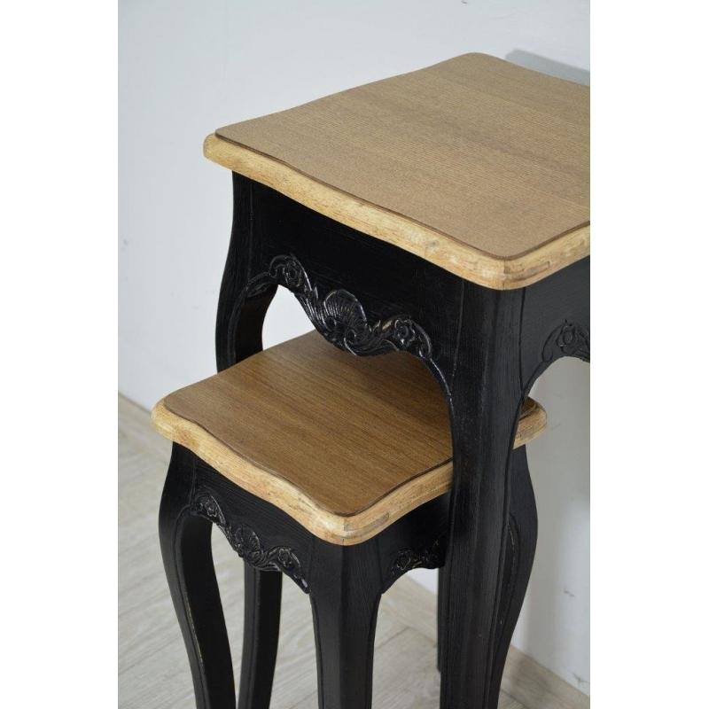 juodos spalvos staliukų komlektas, skirtingų aukščių, medinis