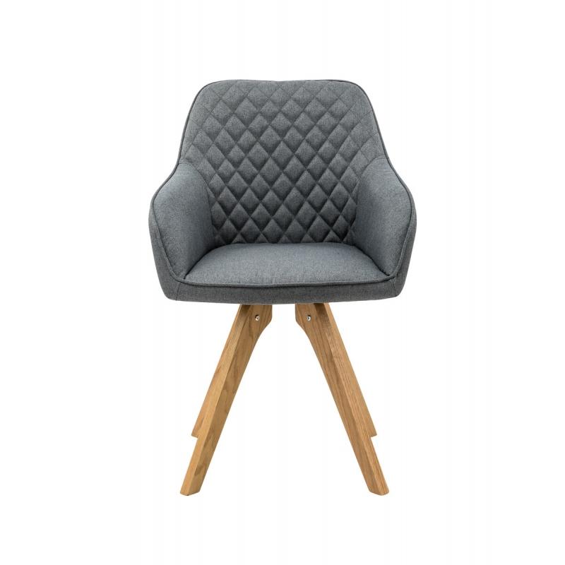 audiniu aptraukta kėdė, su siuvinėtu, ąžuoliniu rėmu ir porankiais