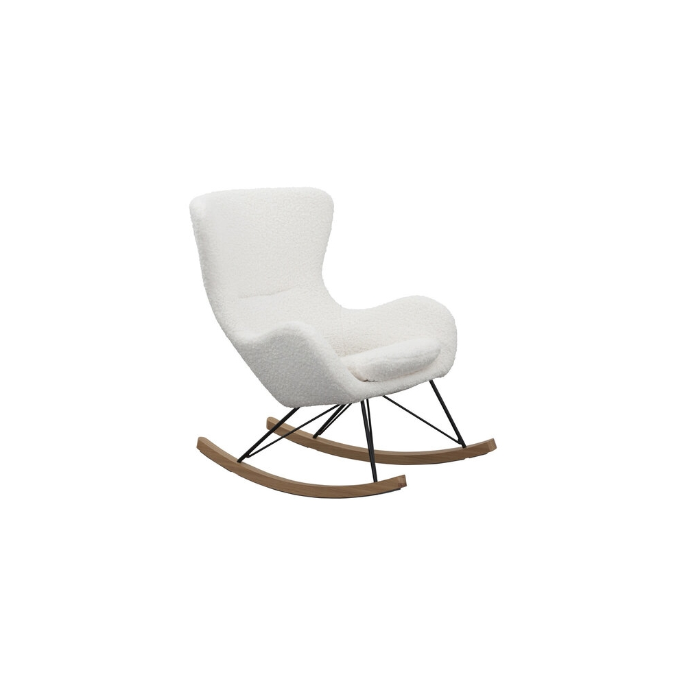 Skandinaviško stiliaus supamas krėslas, minkštas, su metalo ir natūralaus ąžuolo kojelėmis