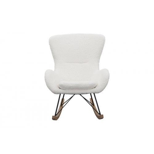 Baltos arba pilkos spalvos supamas krėslas, minkštas, minimalistinis