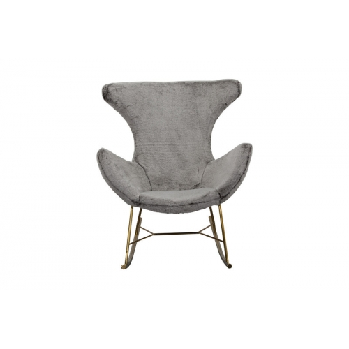 pilkos spalvos supamas krėslas, minkštas, minimalistinis