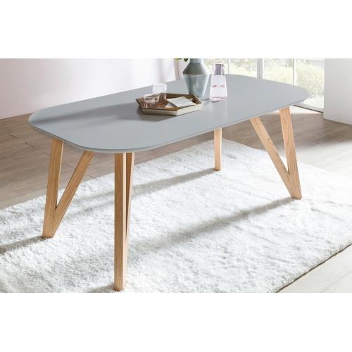 stalas su natūralaus ąžuolo kojelėmis, minimalistinis, modernaus dizaino