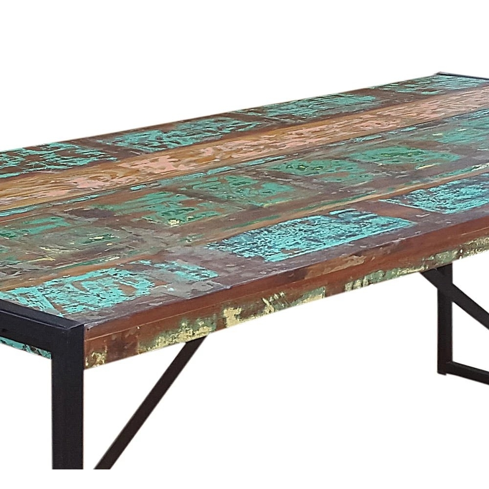 bohemiško stiliaus stalas, su metalinėmis kojomis, antikvarinio dizaino
