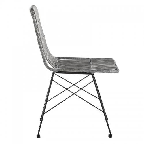ratano kėdė, juodomis metalinėmis kojelėmis, pilkos spalvos