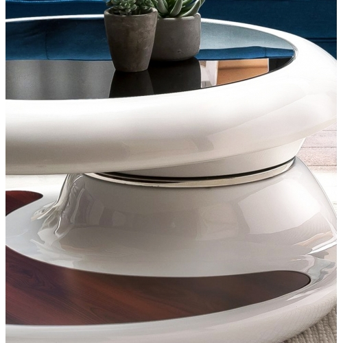 futuristinio dizaino žurnalinis staliukas, 360 laipsnių reguliuojamas, stiklo pluošto