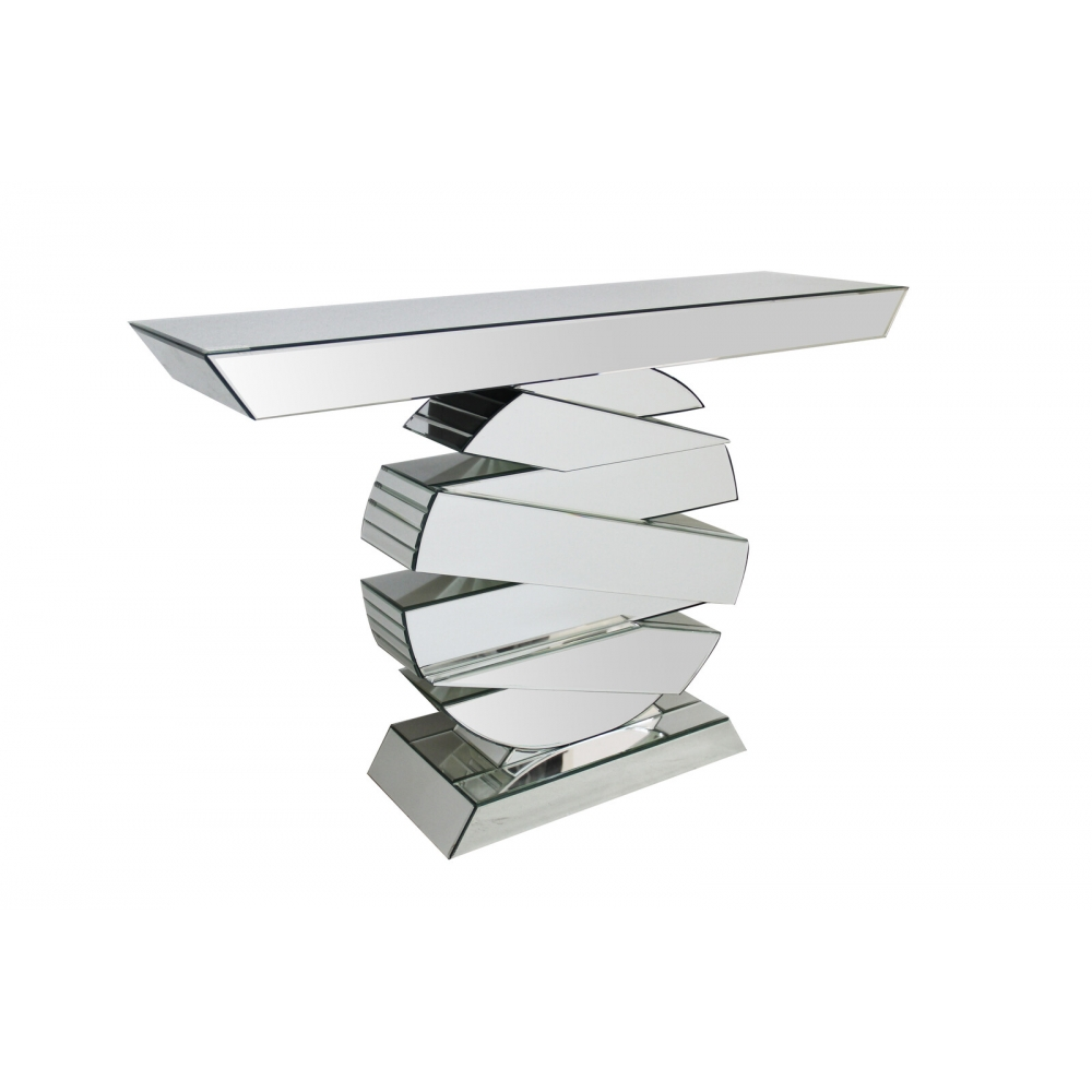 Veidrodinė konsolė, futuristinio dizaino, chrominė
