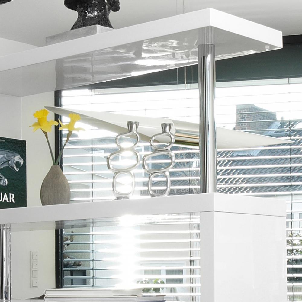 elegantiška lentyna, su metalinėmis chromuotomis atramomis, modernaus dizaino