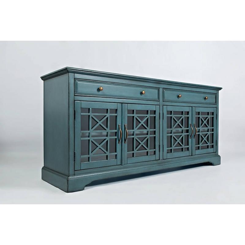 antique blue spalvos spintelė, su dvejais stalčiais, su keturių įstiklintų durelių
