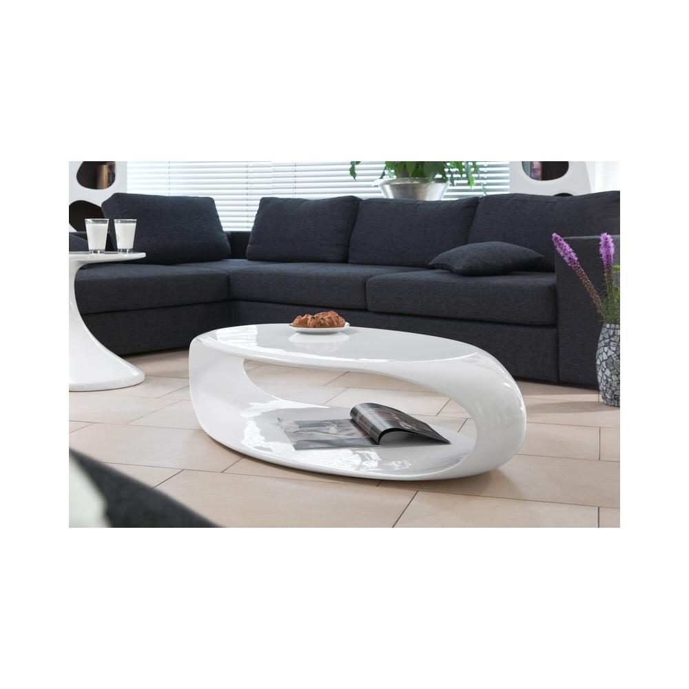 baltas blizgus stiklo, ovalo formos, pluošto žurnalinis staliukas