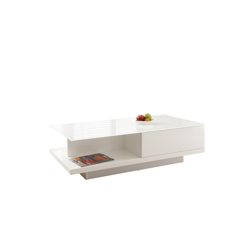 prabangaus stiliaus žurnalinis staliukas, Baltas, blizgus