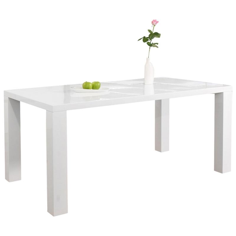 Baltas, blizgus penkių dydžių valgomasis stalas