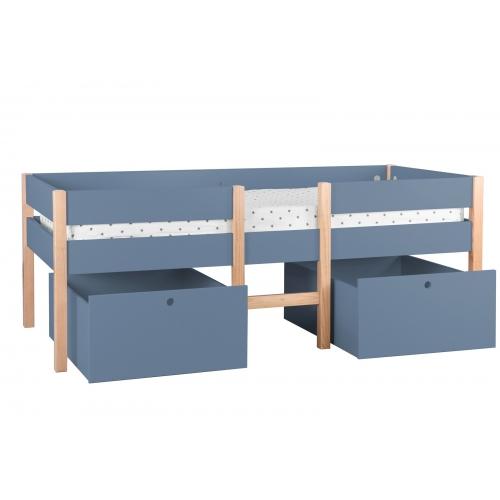 vaikiška su dviem dideliais stalčiais, medinė, tamsiai mėlynos spalvos