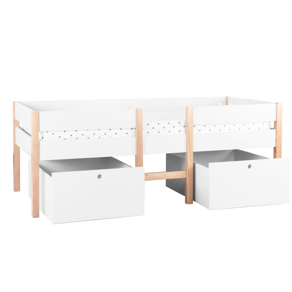 vaikiška su dviem dideliais stalčiais, medinė, baltos spalvos
