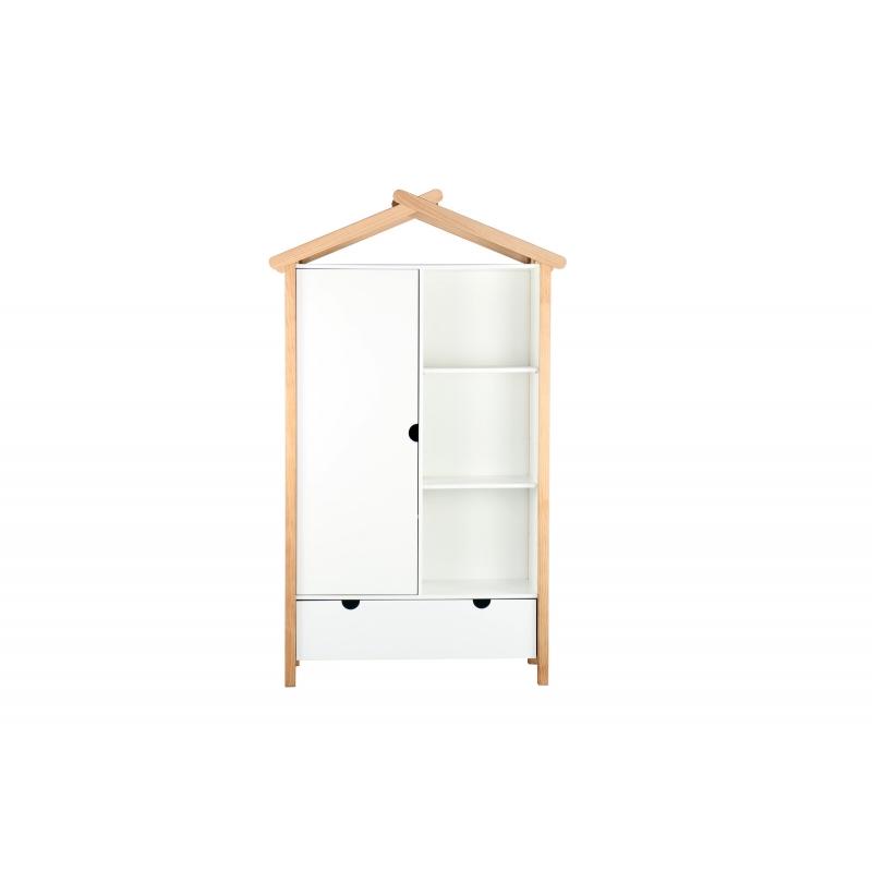 """medinė vaikų spinta, su """"softclose"""" tylaus uždarymo sistema stalčiuje, su durelėm"""