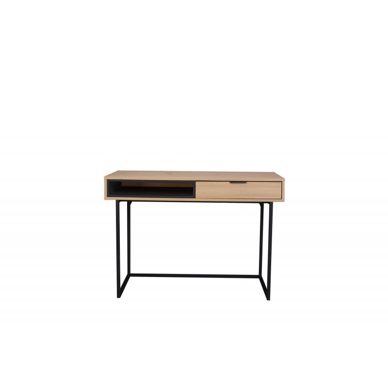Modernaus dizaino darbo stalas, su lentynėle, metalinėmis kojelėmis.