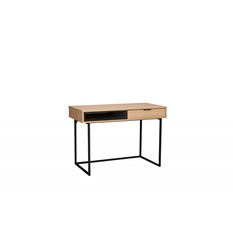 rašomasis stalas su stalčiumi, medinis, metalinėmis kojomis, kompaktiškas