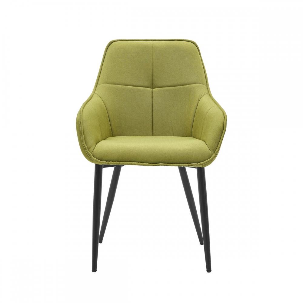 minkšta kėdė, juodomis metalinėmis kojelėmis, skandinaviško stiliaus