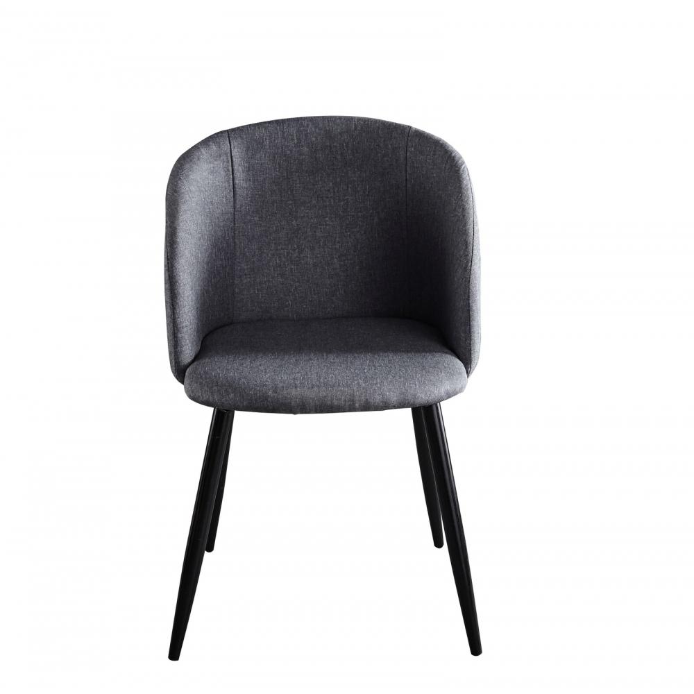 Kėdė juodomis metalinėmis kojelėmis, pilkos spalvos, skandinaviško stiliaus
