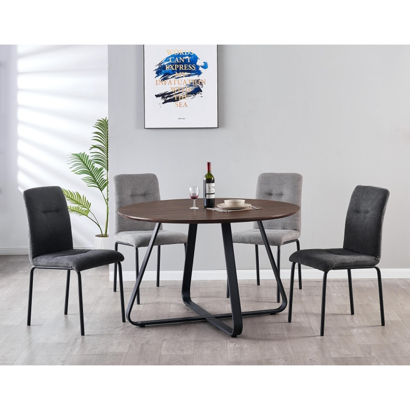 riešutmedžio imitacijos valgomojo stalas su juodomis plieninėmis kojomis, medinis