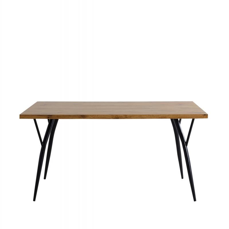 stalas su juodomis metalinėmis kojomis, medinis, rudos spalvos