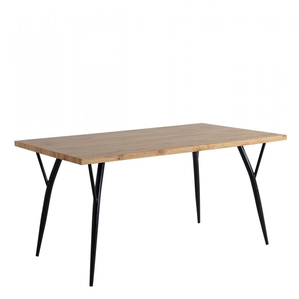 modernaus dizaino stalas, stačiakampio formos, ąžuolo imitacijos valgomojo stalas