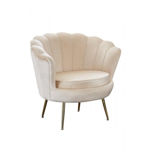 kriauklės formos fotelis, aukso spalvos kojelėmis, krėminės spalvos