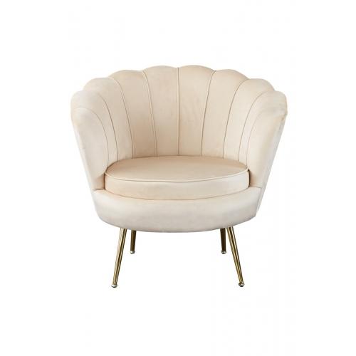 Prabangaus stiliaus fotelis, minkštas, Veliūrinis kriauklės