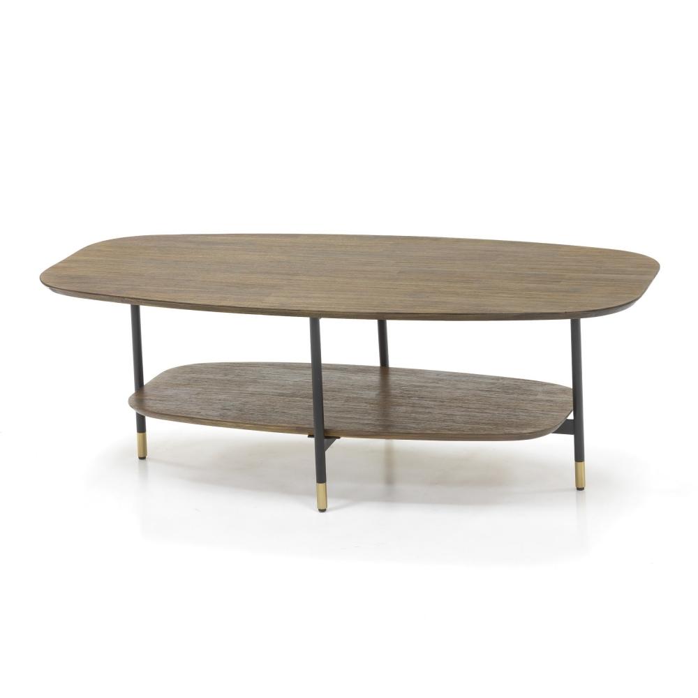 Stilingas žurnalinis staliukas, natūralaus medžio, su metalinėmis juodos ir aukso spalvos kojelėmis