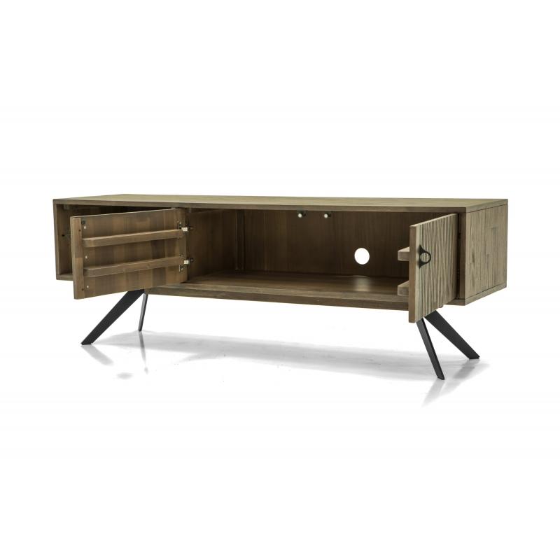 TV staliukas juodomis metalinėmis kojelėmis, medžio spalvos, modernaus dizaino