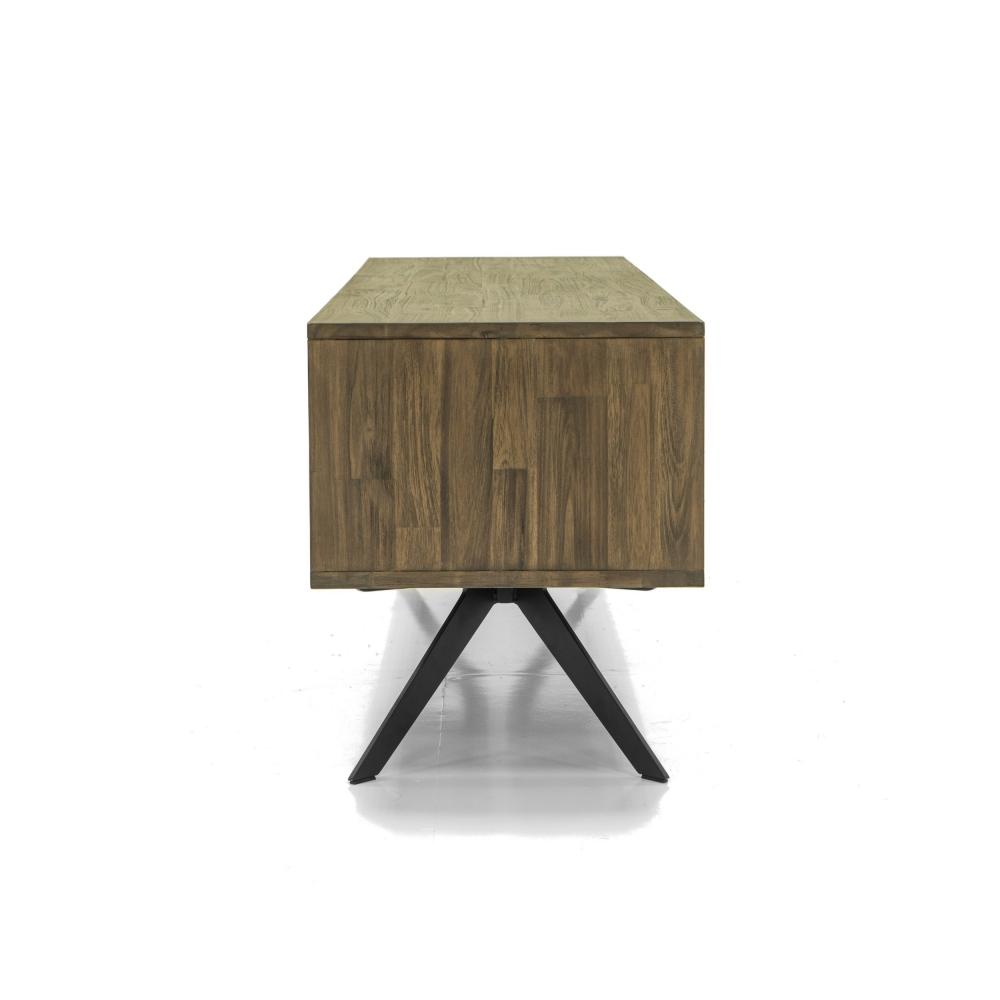 elegantiškas TV staliukas, su lentynom ir stalčiais, rudos spalvos