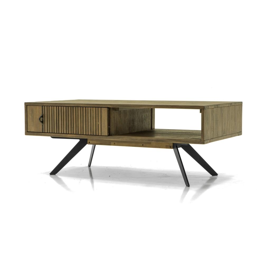 Žurnalinis staliukas juodomis metalinėmis kojelėmis, medžio spalvos, modernaus dizaino
