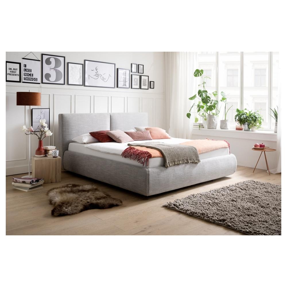 Modernaus dizaino lova, skandinaviško dizaino, Minkšta audiniu aptraukta