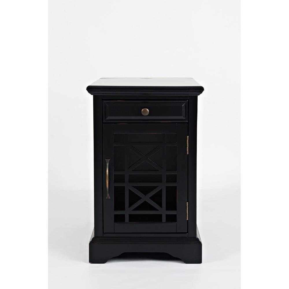 AVELLINO naktinis staliukas, HAMPTON stiliaus, juodas