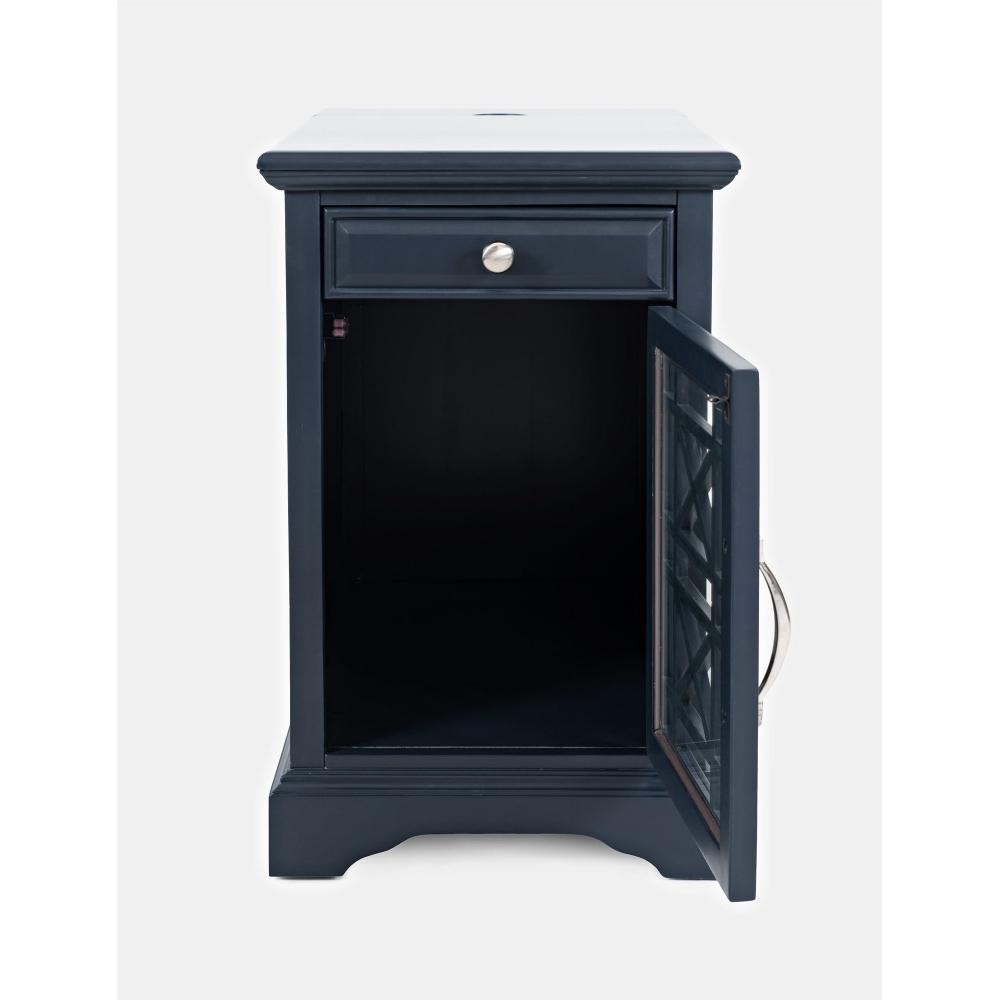 elegantiškas naktinis staliukas, estetiškas, tamsiai mėlynos spalvos