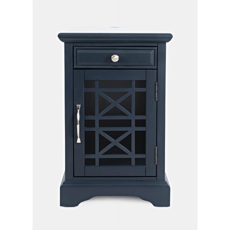 """AVELLINO stiliaus naktinis staliukas, """"Hampton"""" stiliaus tamsiai mėlynas, prabangaus stiliaus"""