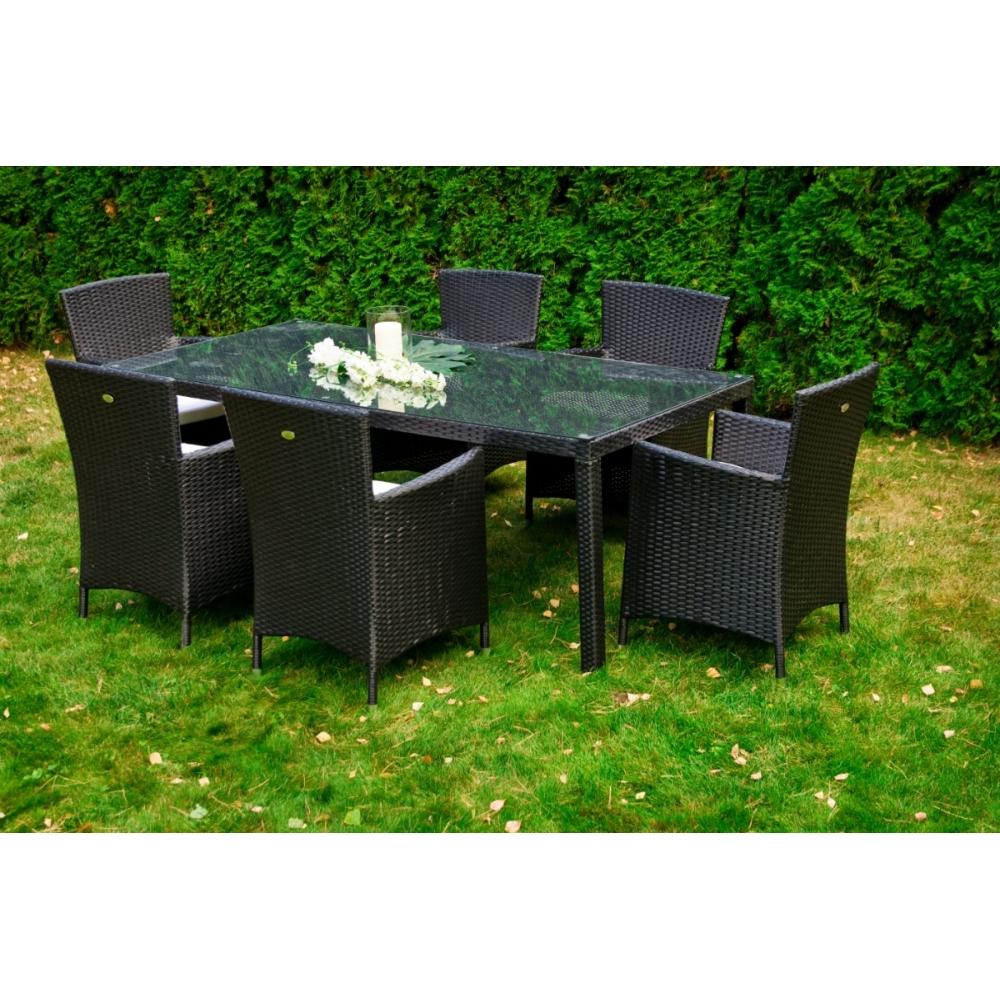 elegantiškas lauko baldų komplektas, prabangaus dizaino, tamsiai juodos spalvos