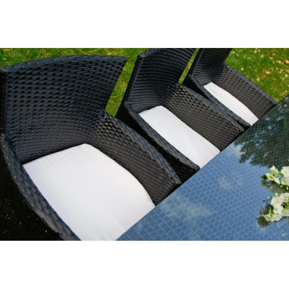 Lauko baldų komplektas GUSTO GRAFIT stiliaus, su stikliniu stalviršiumi, atsaprus vėjui, lietui