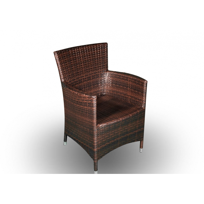 Lauko baldų komplektas GUSTO BROWN XL stiliaus, su stikliniu stalviršiumi, atsaprus vėjui, lietui