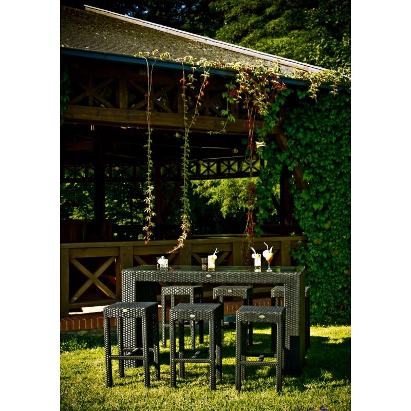 Lauko baldų komplektas GENIAL GRAFIT stiliaus, su stikliniu stalviršiumi, iš sintetinio ratano
