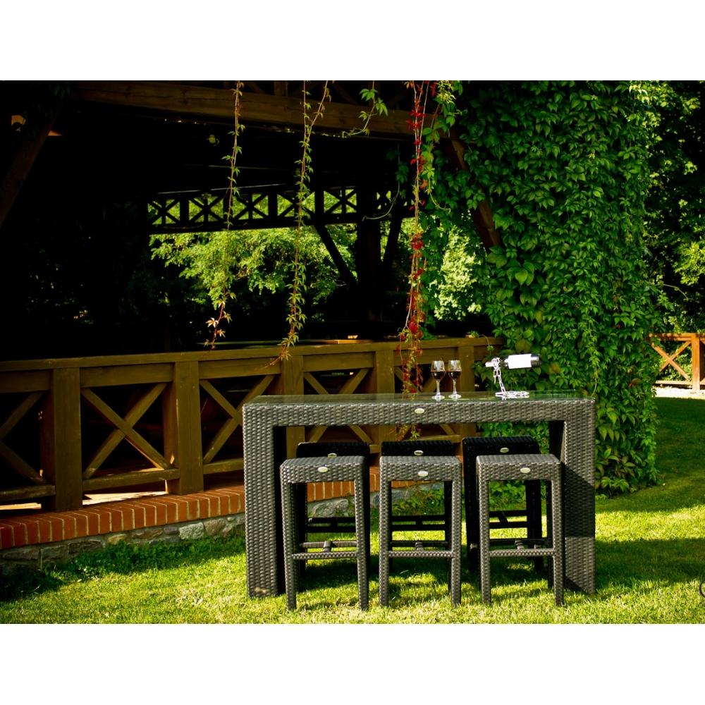 elegantiškas lauko baldų komplektas, su baro kėdėm, tamsiai rudos spalvos