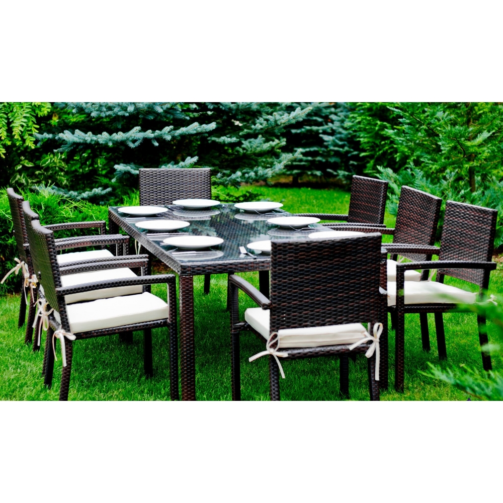 elegantiškas lauko baldų komplektas, medinis, su stalu
