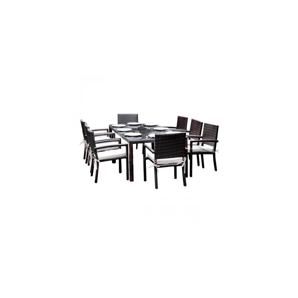 Lauko baldų komplektas OMBRO stiliaus, su stiklintu staliuku, kėdės su pagalvėm
