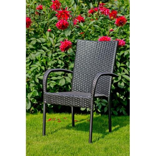 klasikinio dizaino lauko baldų komplektas, pintas, juodos spalvos