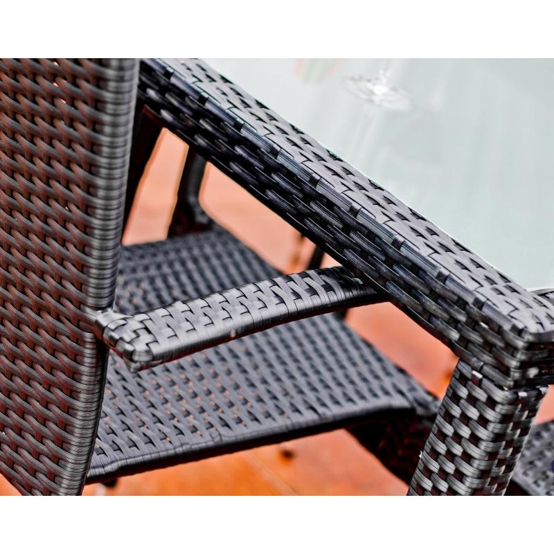 tamsiai pilkos spalvos lauko baldų komplektas, pintas, modernaus dizaino