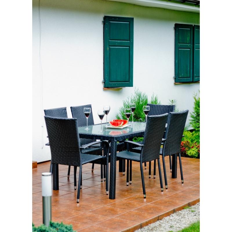 minimalistinis lauko baldų komplektas, atsparus drėgmei, pintas