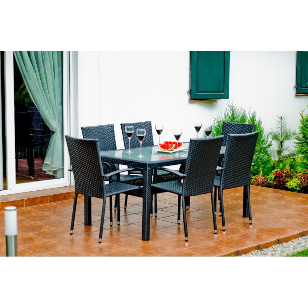 AVICE GRAFIT stiliaus Lauko baldų komplektas, Valgomojo lauko baldų komplektas, iš aukštos kokybės PE sintetinio ratano