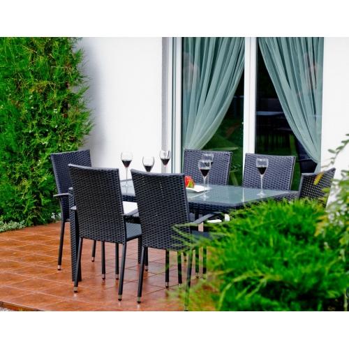 juodos spalvos lauko baldų komplektas, pintas, modernaus dizaino