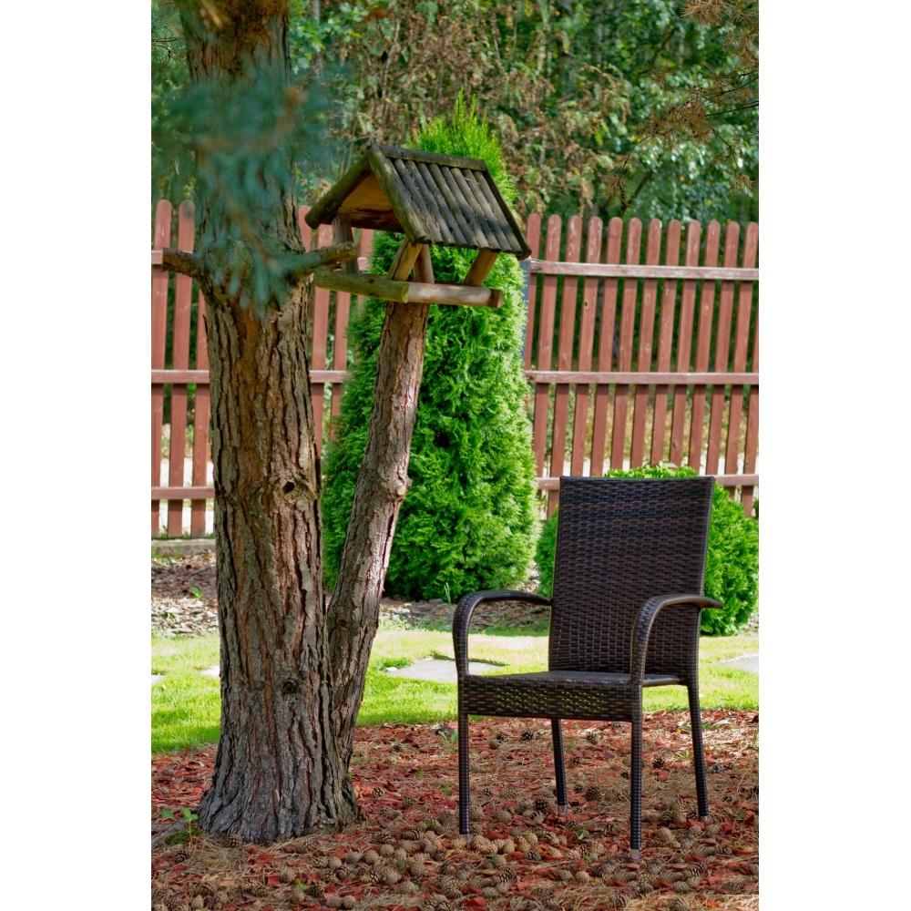 Lauko baldų komplektas ECCELL BROWN stiliaus, su stikliniu stalviršiumi, iš sintetinio ratano