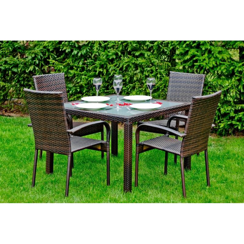 elegantiškas lauko baldų komplektas, prabangaus dizaino, tamsiai rudos spalvos