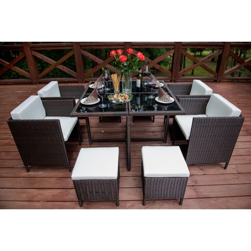 elegantiškas lauko baldų komplektas, su paminkštinimais, tamsiai rudos spalvos